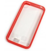 Soft Jacket iPhone 4 / 4S  Frame (Clear Solid Red)